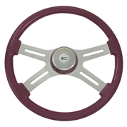 Steering Creations - Painted Wood Rim, Chrome 4-Spoke w/ Slot Cut Outs