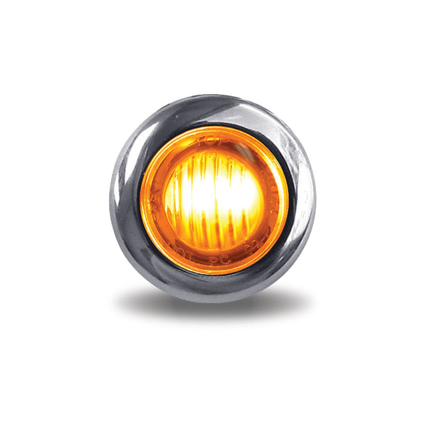 "TRUX CLEAR AMBER MINI BUTTON 3/4"" ROUND LED (2 WIRE)"