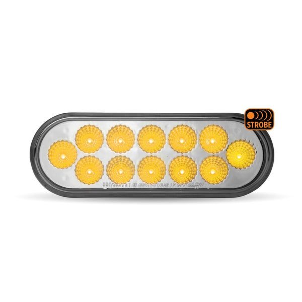 Trux DUAL REVOLUTION RED STOP, TURN & TAIL TO AMBER STROBE LED OVAL LIGHT