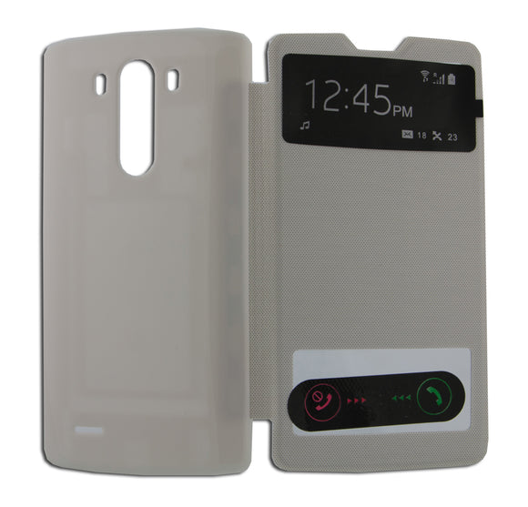 Flip Cover, LG Optimus G3, S View, Alb