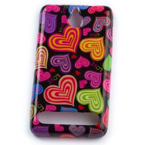 Husa Sony Xperia E1 Colored Hearts,  Silicon, Multicolor
