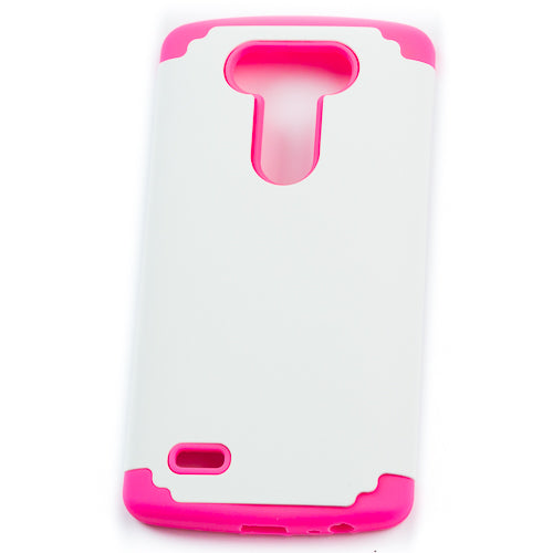 Husa LG G3 Double Protection Roz/Alba,  Silicon/Plastic