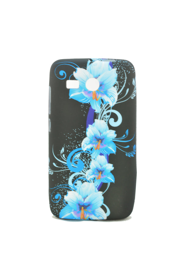 Husa Huawei Ascend Y511 , Blue Flowers , silicon, negru