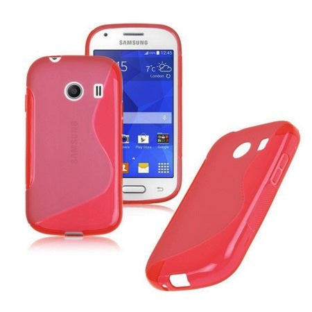 Husa Samsung Galaxy Ace Style G310, S Line, Silicon transparent, rosu