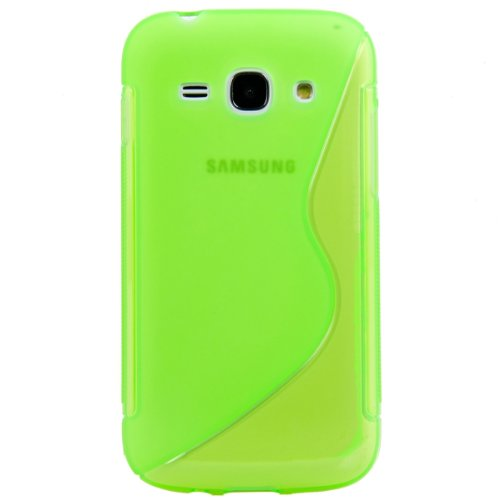 Husa Samsung Galaxy Ace Style G310, S Line, Silicon transparent, verde