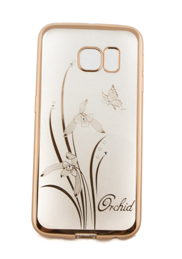 Husa Samsung Galaxy J5, ultra slim, silicon, pietricele, rama aurie, orchid
