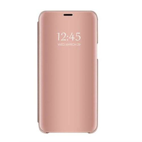 Husa Samsung Galaxy A7 2018, mirror, carte, clear view, auriu