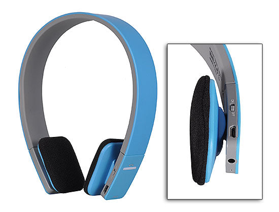 Casti audio bluetooth - cu microfon incorporat - bleu