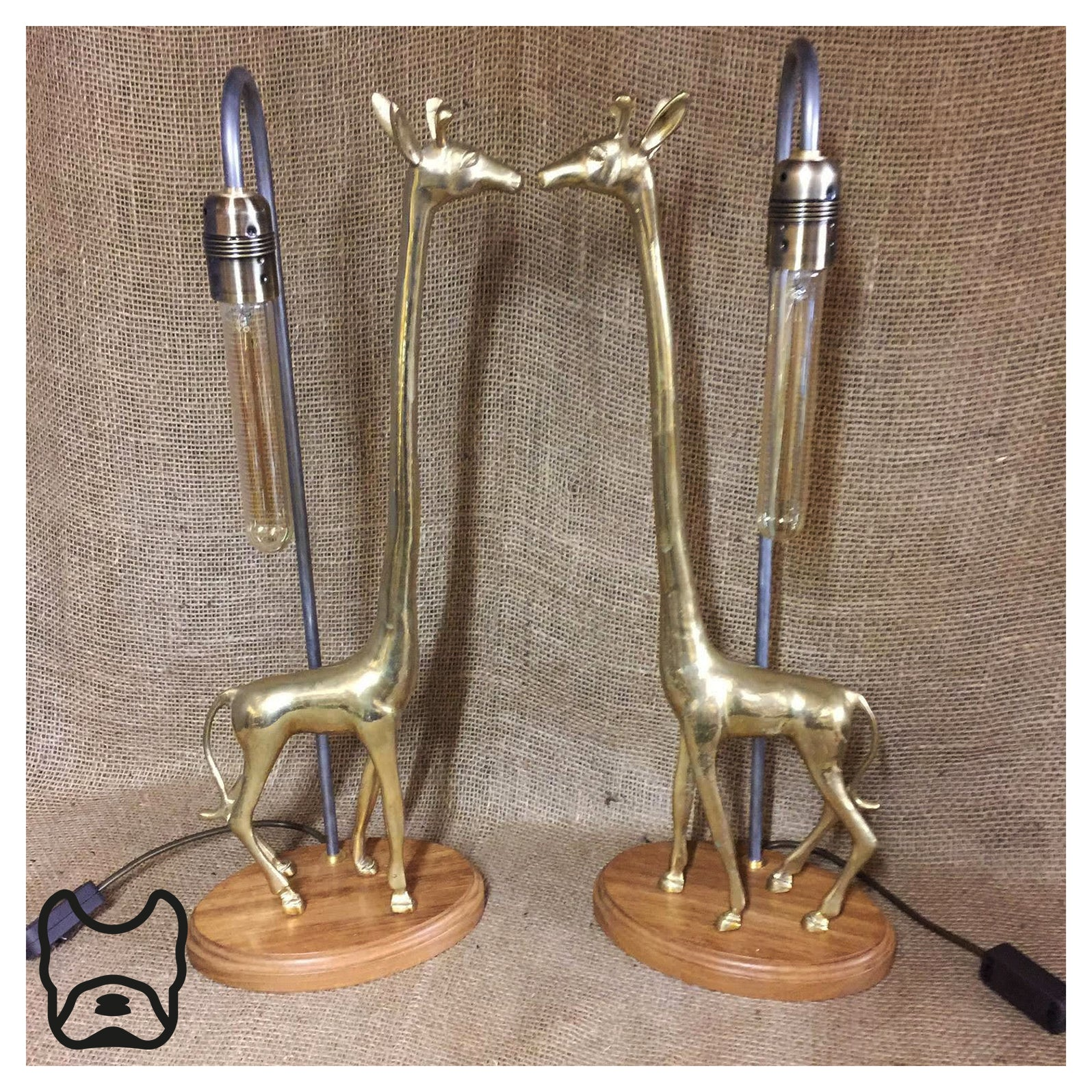 Tall Brass Giraffe Lovers Lamp Pair