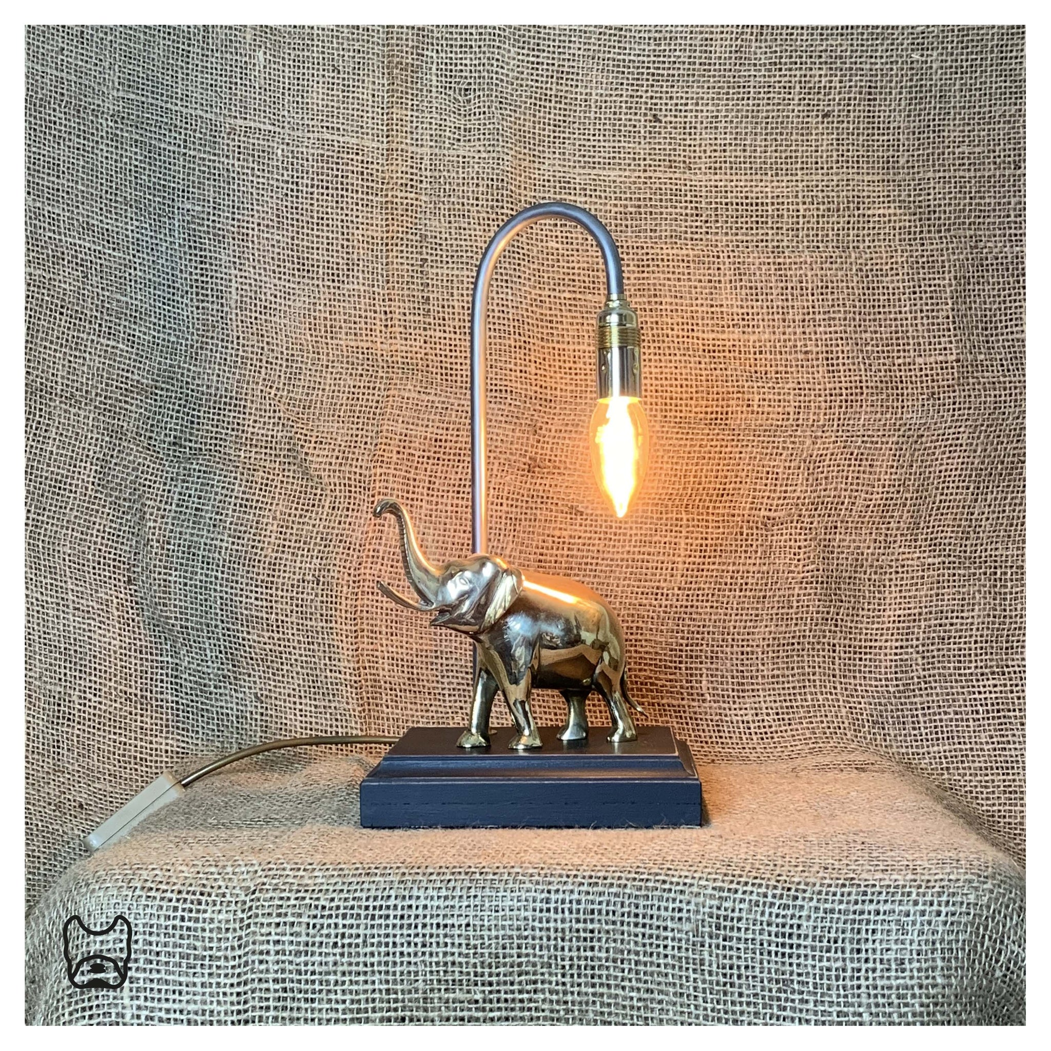 Solid Brass 'Asha' Elephant Table Lamp