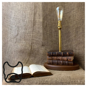 Antique Brown Book Stack Lamp