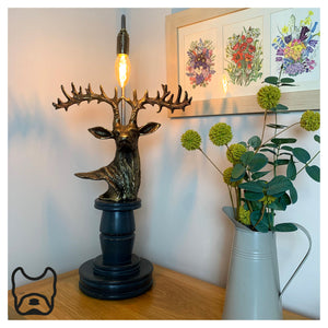 Vintage Style Stag Head Table Lamp