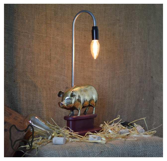Large Solid Brass 'Wilbur' Pig Table Lamp