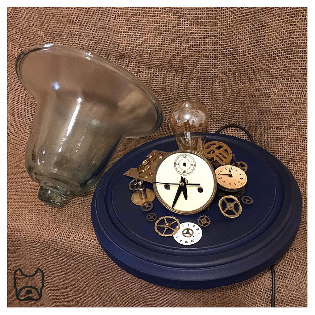 Clock Part Glass Cloche Table Lamp