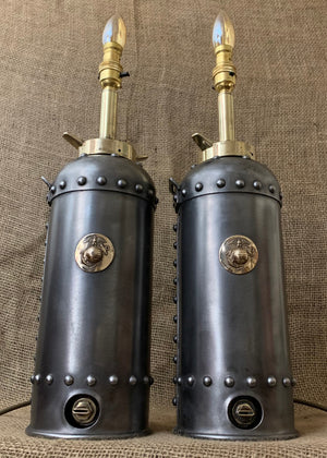 WW2 Marine Emblem Extinguisher Lamp Pair