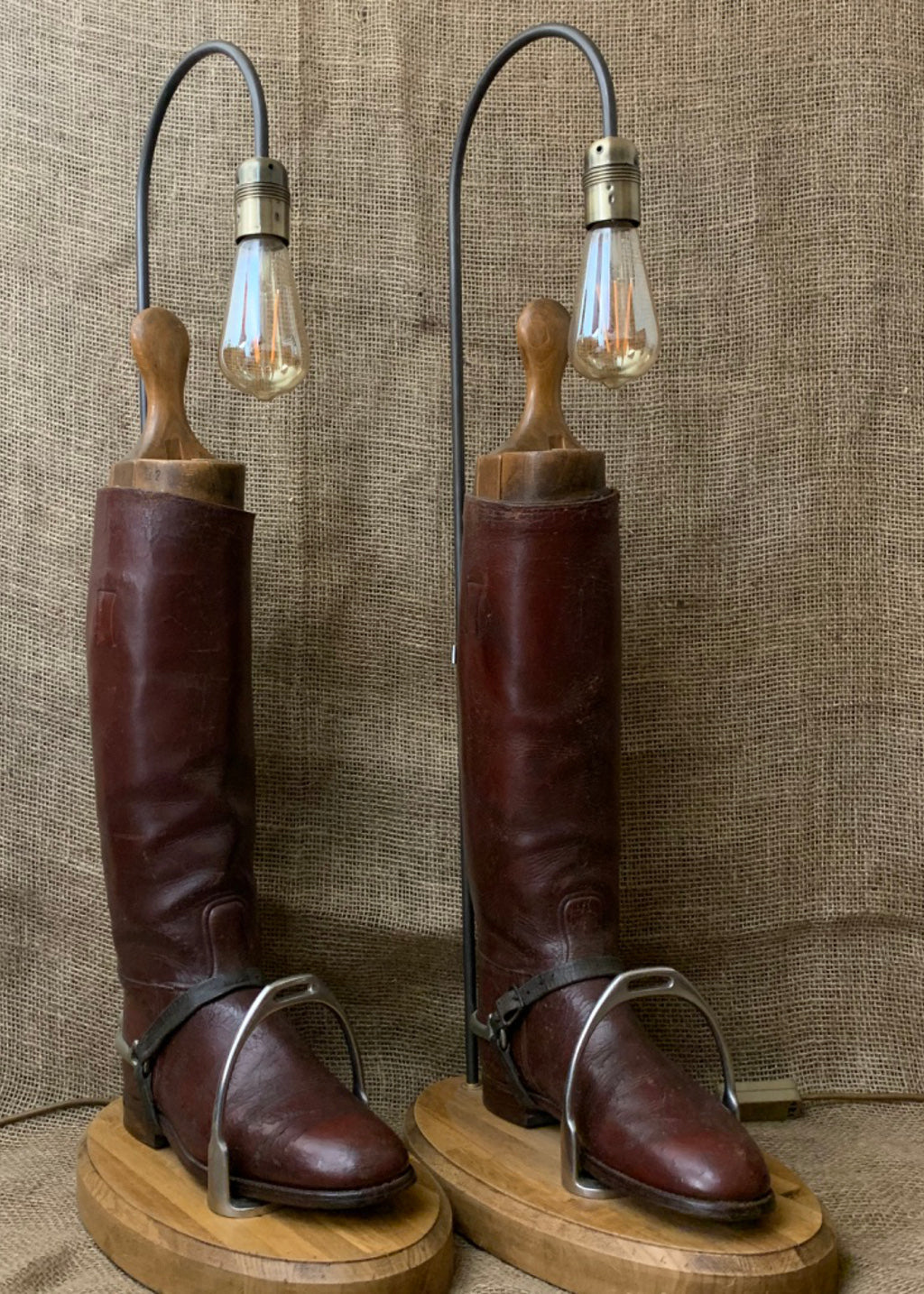 Leather Hunting Boots Pair of Lamps