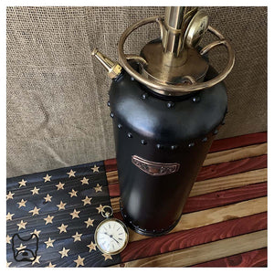 Black '1912' Fire Extinguisher Lamp