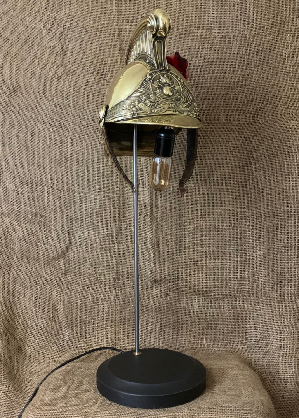 Original French Firefighter Helmet Lamp