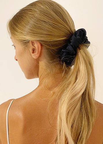 100% natural silk scrunchie hair tie | navy blue
