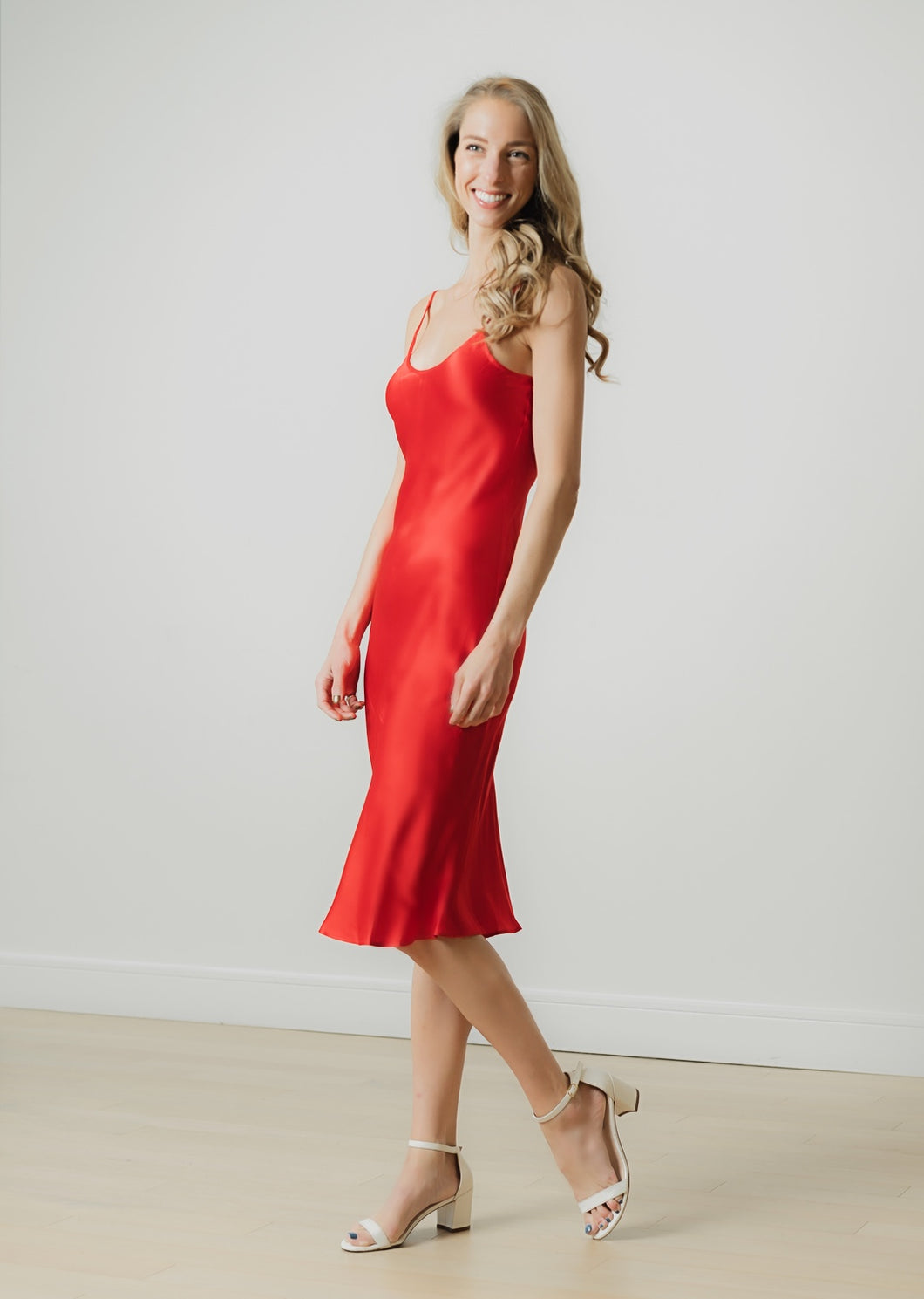 100% natural silk slip midi dress | red