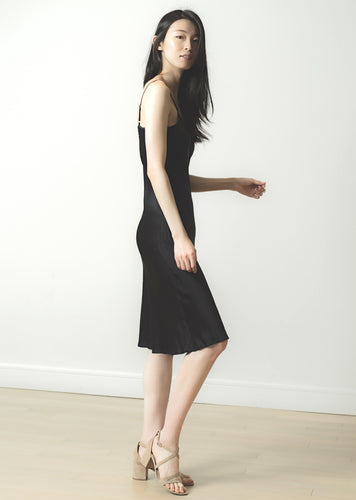 100% natural silk slip midi dress | black