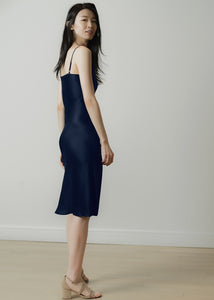 100% natural silk slip midi dress | navy blue