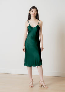 100% natural silk slip midi dress | emerald green