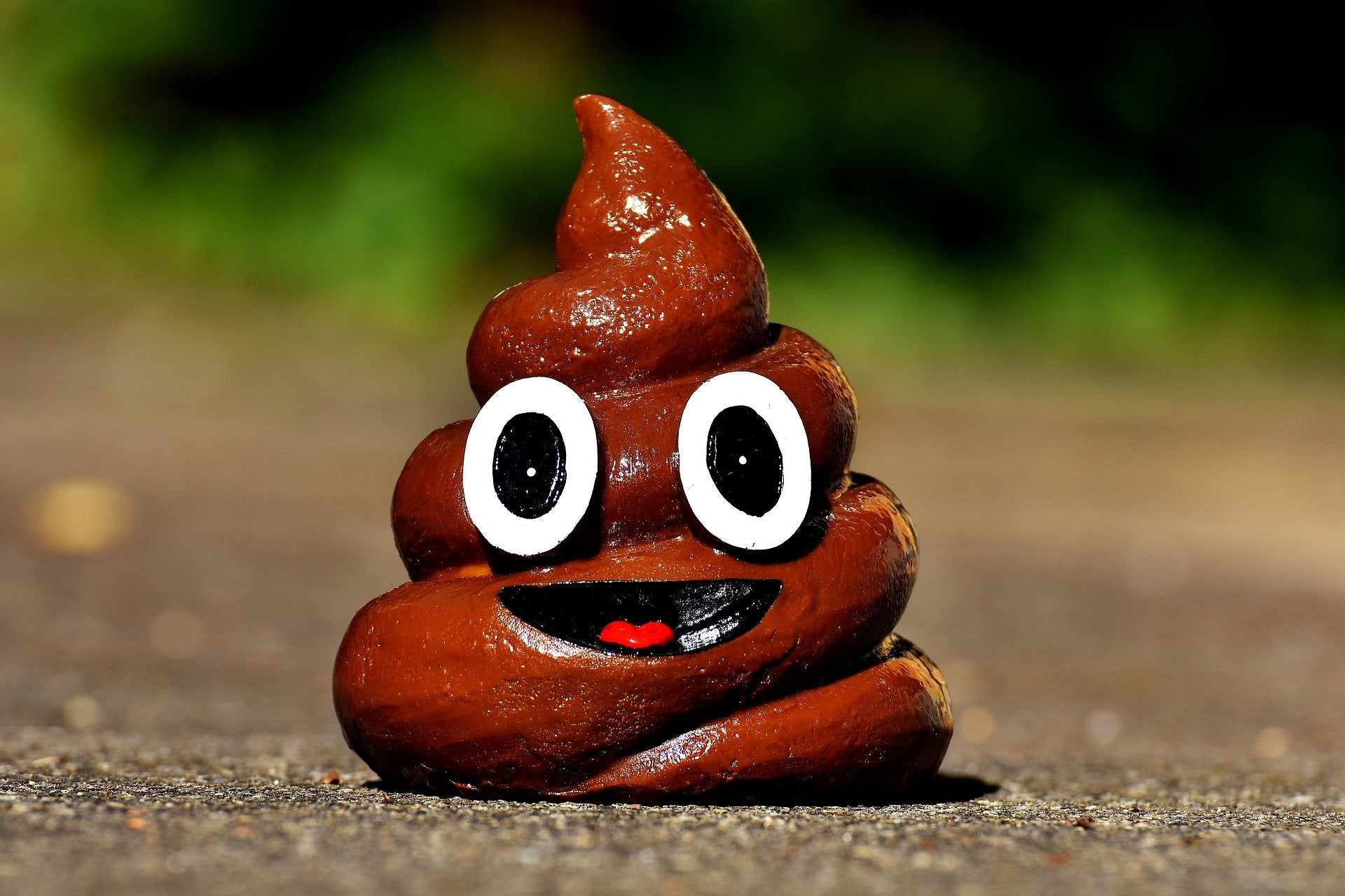 Poo emoji model on a road
