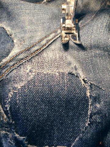 Denim repair using a sewing machine