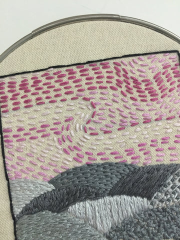 Pink and grey contemporary landscape embroidery