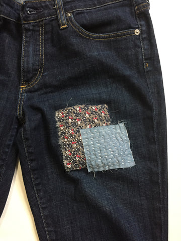 sashiko patches on denim