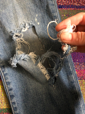 Preparing jeans for patching