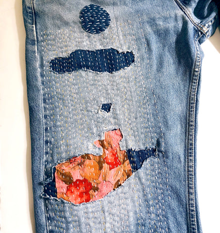 silk and denim patching