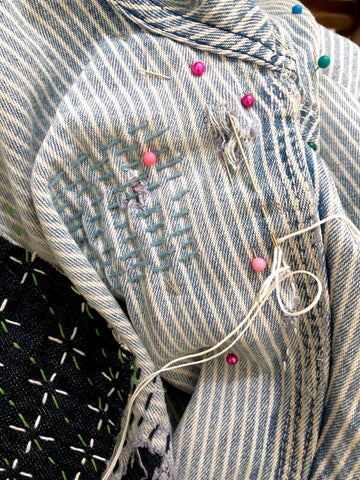 Sashiko style mending for denim