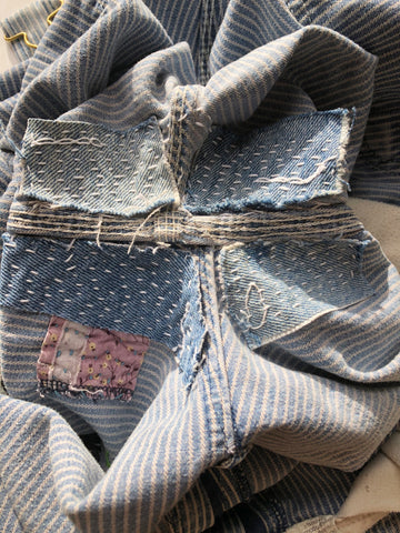 Underside of sashiko denim repair
