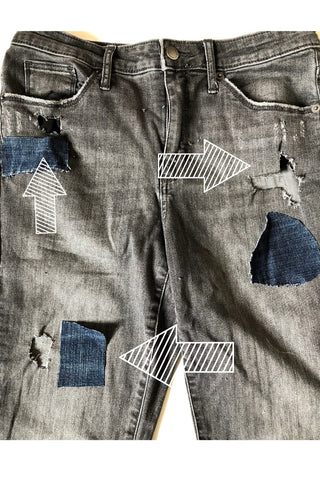 visible mending technique denim