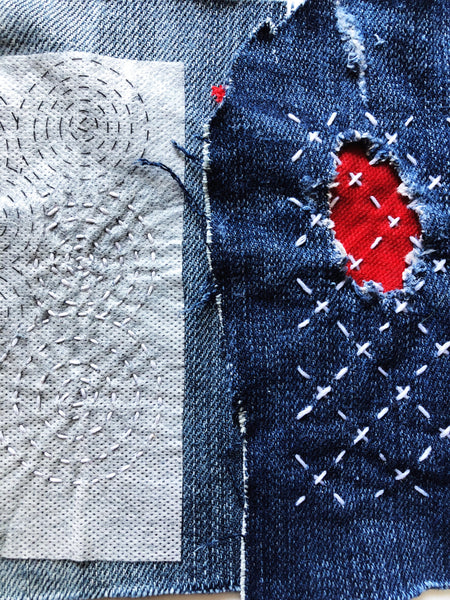 Sashiko Style Visible Mending Patterns Water Soluble Transfers