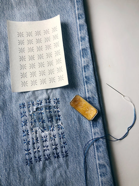 Washable Mending Transfers Sashiko Style Patterns for Visible Mending
