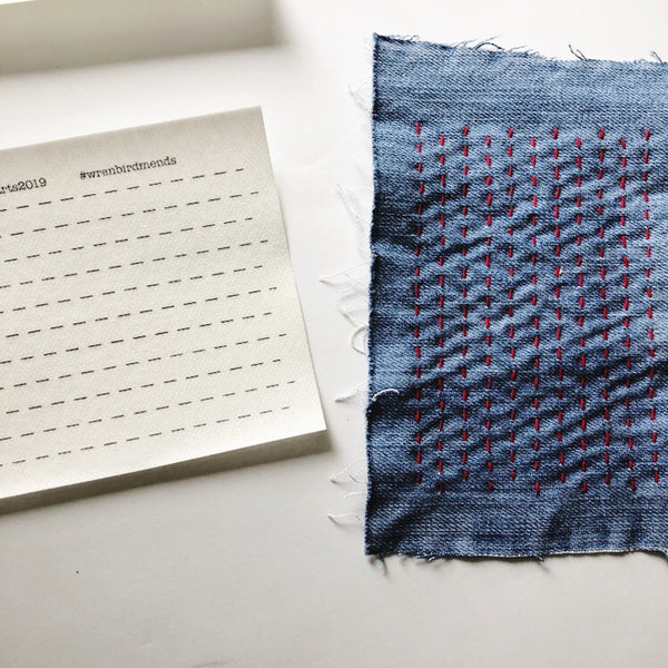 Sashiko Style Simple Lined Water Soluble Transfers