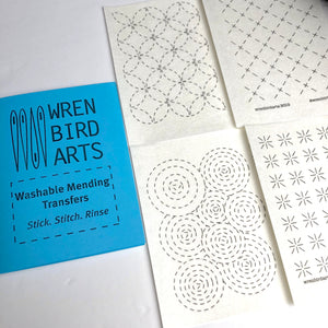 Washable Mending Transfers Sashiko Style Patterns #1 for Visible Mending