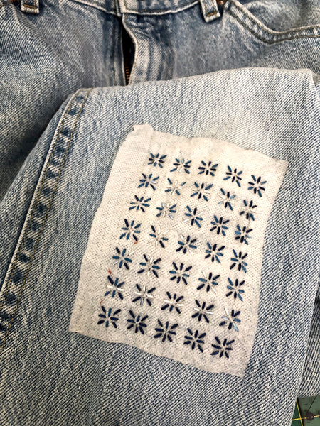 Washable Mending Transfers #1 Blue Sashiko Patterns for Visible Mending