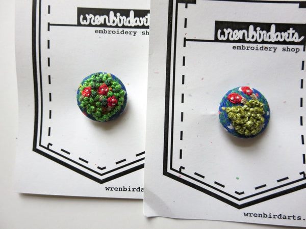 Hand Embroidered Pacific Northwest Buttons