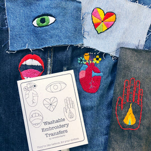 Washable Embroidery Transfers Hands and Heart Set