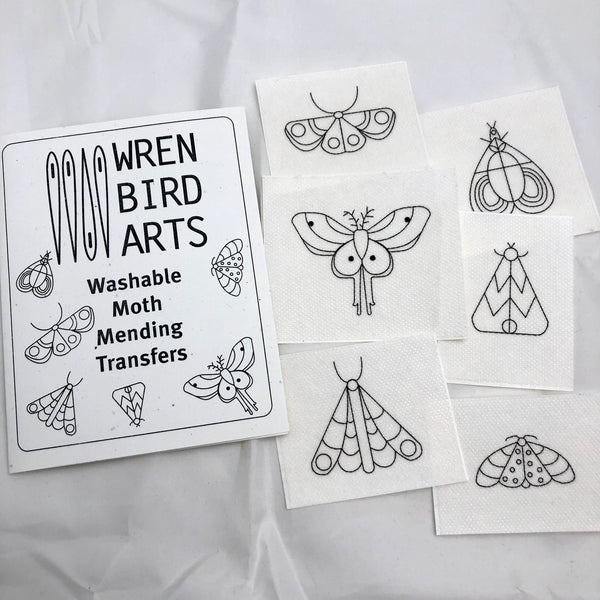 DIY Moth Mending Embroidery Stick-On Wash Off Transfers