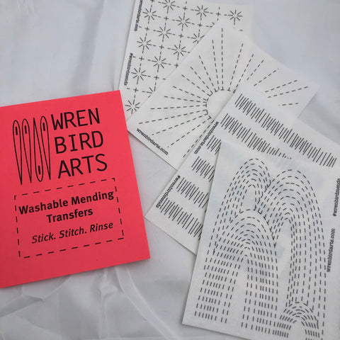 Washable Mending Transfers Set #2 Red Whimsical Visible Mending Design Patterns