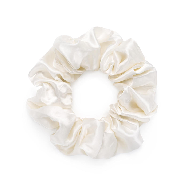 Large 100% mulberry silk scrunchie in ivory white, by Silk Works London UK.
