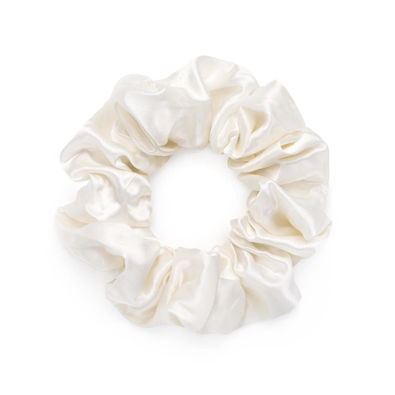 Large ivory 100% mulberry silk scrunchie