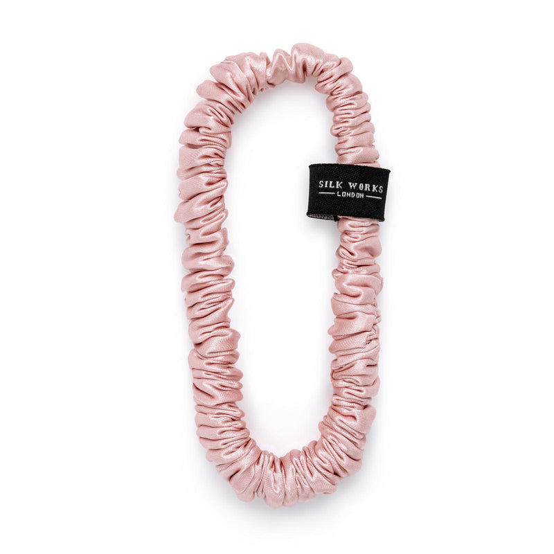 one silk skinny scrunchie in pink by Silk Works London UK
