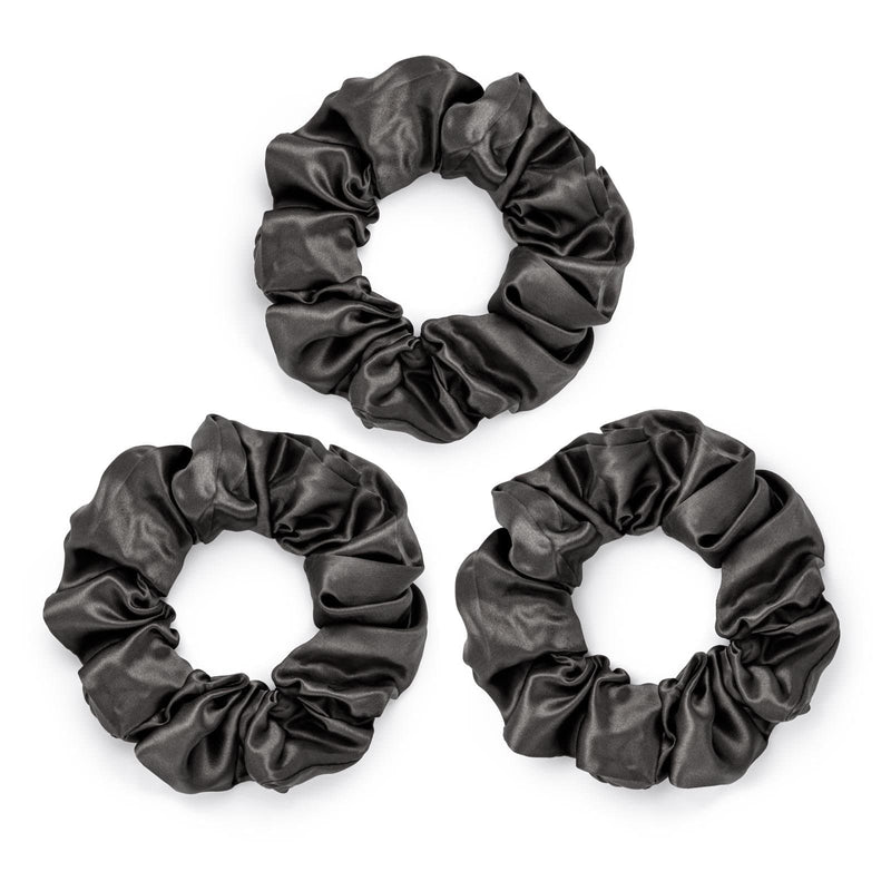Pack of 3 large grey 100% mulberry silk scrunchies by Silk Works London UK