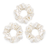 Large silk ivory scrunchies, 100% mulberry silk, pack of 3 by Silk Works London UK